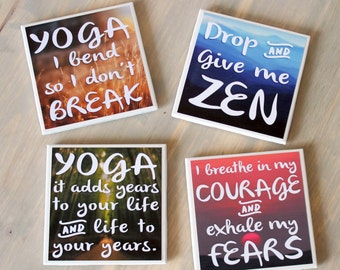 Yoga Coasters. Zen Home Decor