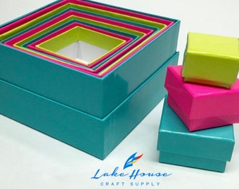 12 Stunning Nesting Gift Boxes Variety of Color Choices.
