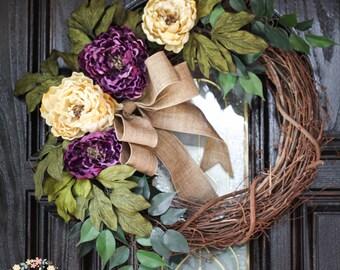 Purple and Cream Peonies Grapevine Wreath, All Season Wreath, Everyday Wreath, Wedding, Housewarming, Rustic Chic Peony Wreath, Front Door