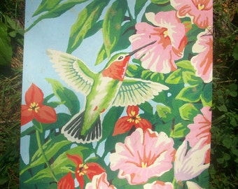 Hummingbird Paint by Numbers Painting, Kitsch, 1960's