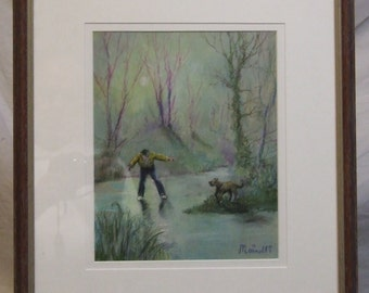 Original painting Francesca Mainolfi English artist Thin Ice pastel painting art  etsy global gift Freight cost extra