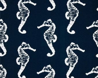 Outdoor Navy Blue Nautical Fabric - Fabric Yardage - Premier Prints Outdoor Sea Horse Oxford