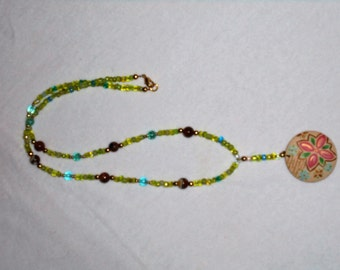 Beaded Necklace with Hand Painted Pendant