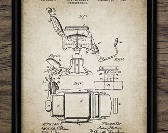 Barber's Chair Patent Print - Barber Wall Art - 1898 Chair Design - Hair Stylist Art - Printable Art - Single Print #428 - INSTANT DOWNLOAD