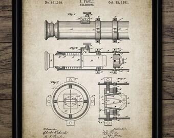 Telescope Patent Print - 1891 Telescope Design - Vintage Telescope - Navigation - Astronomy - Single Print #1012 - INSTANT DOWNLOAD