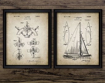 Sailboat Patent Print Set Of 2 - Sailing Boat Design - Yacht Design - Sailing Ship Invention - Set Of Two Prints #1026 INSTANT DOWNLOAD