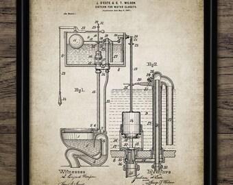 Toilet Cistern Patent Print - Vintage 1898 Toilet Design - Lavatory Print - Loo Decor - Bathroom Art - Single Print #1182 -INSTANT DOWNLOAD