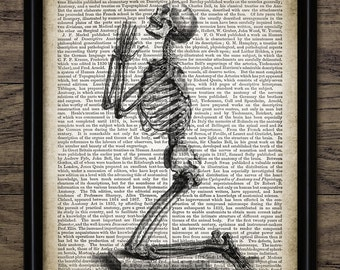 Vintage Praying Skeleton Print On Anatomy Dictionary Page Background - Religious Art - Penitent Man - Single Print #1309 - INSTANT DOWNLOAD