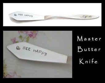 Stamped Butter Knife, Bee Happy Engraved Vintage Silverware Jelly Spreader Cheese Knife Hostess Gift Morning Rose Gifts Under 15 Be Happy