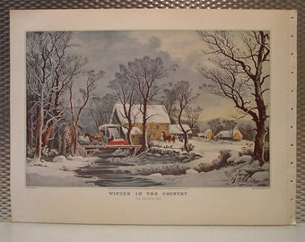 Currier & Ives Vintage Print 1952  WINTERin the COUNTRY The Old Grist Mill Horse Snow Stream
