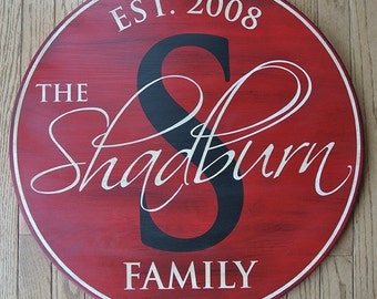 """18"""" Family Name Sign Personalized Monogram Sign Established Date Sign Painted Round Wood Sign Wedding Anniversary Gift Est. Date Custom Gift"""