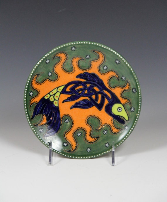 Green ceramic plate with celtic fish // Hand made decorative plate // painted plate // Green Blue Orange fish plate