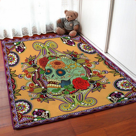 Orange Floral Skull Carpet Skull Area Rug Skull Floor By