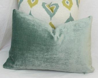 Seafoam blue velvet pillow. 12 x 20. 13 x 20. Robert Allen velvet pillow.