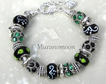 European Bracelet Black Emerald Green Glass Bead Charm Bracelet Nana Aunt Sister Grandma Mother Heart Charm Beaded Bracelet #EB1466