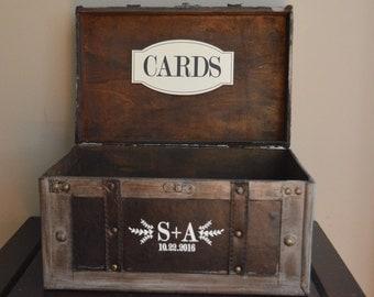 Wedding Card Trunk, Large , Rustic Weddings Card Box with Initials and Date, Custom Initials Trunk Wedding Box B1B