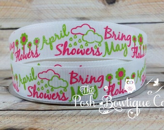 April Showers Bring May Flowers on White Grosgrain 7/8 Inch Ribbon