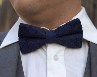 Midnight Blue Bow Tie - Blue Lace Bow Tie - Midnight Blue Lace - Men's Bow Tie - Baby Bow Tie - Deep blue bow tie - Navy blue bow tie