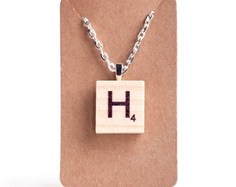 """Scrabble Pendant Monogram Necklace with 24"""" Silver Plated Chain"""