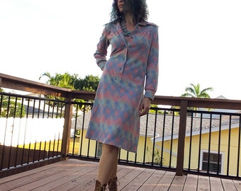 1970s Knit Midi Shirt Dress