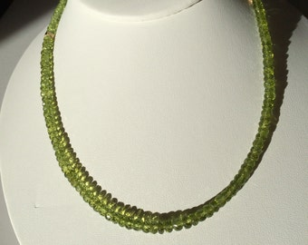 Faceted Peridot Roundel Necklace with 14k Accents