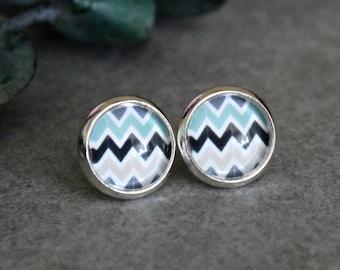Mint Stud Earrings, Mint Earrings, Mint Post Earrings, Black Stud Earrings, Mint Chevron Earrings, Chevron Studs, Chevron Post Earrings 10MM