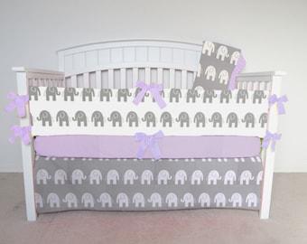 FREE SHIPPING - 4 Piece Crib Set - Elephant crib set gray and white