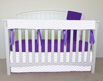 4 piece bumperless Crib Set - Light purple chevron crib bedding, zig zag, lavender chevron, wisteria chevron, purple zig zag