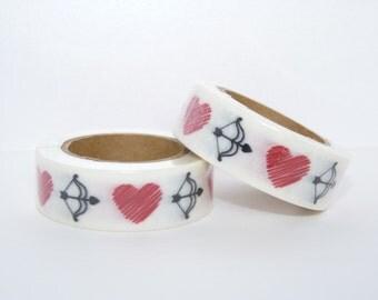 Washi Tape roll - masking tape - hearts  - Christmas - Gift - decoration