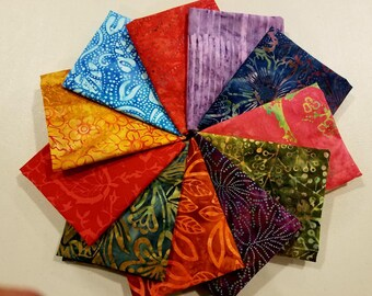 Batik FQ Fabric Bundle.  11 different fabrics