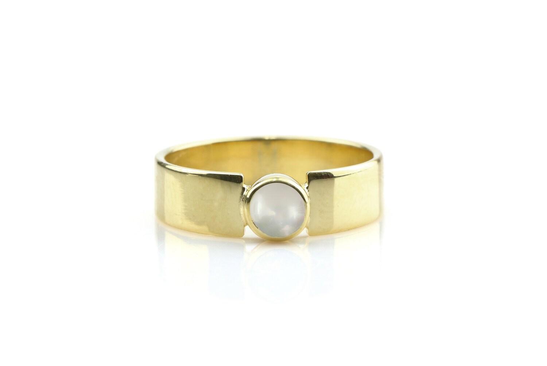 Pearl ringgold ringbezel ringfreshwater pearl ringwide bandwide