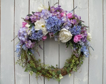 Garden Wreath, Hydrangea Wreath, Front Door Wreath, Designer Wreath, Spring Wreath, Summer Wreath, Home Decor