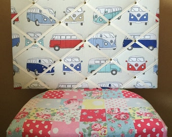 Fabric notice board - Blue campervan