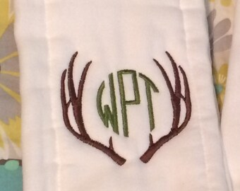 Antler Monogrammed Burp Cloth