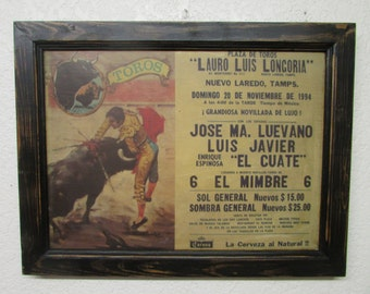 Rustic Old Bullfight Framed-Poster-27x21-Nuevo Laredo Mexico-1994-Black Frame-Vintage