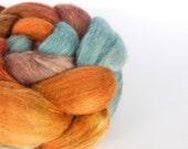 Falkland/Merino/Baby Llama/Silk/Soysilk top (roving), hand dyed spinning and felting fibre, Demeter blend 'Littlest Siow' - 100g/3.5oz