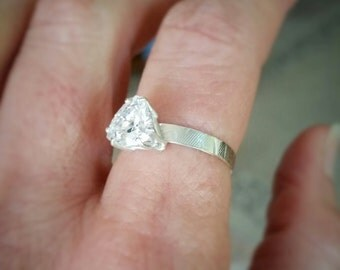 Trillion CZ Solitaire Ring in Sterling Silver