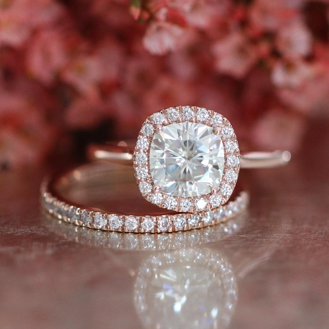 Cushion Moissanite Engagement Ring and Diamond Wedding Band