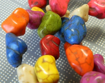 """Medium Dyed Howlite Nugget Beads - Multi-Color Howlite Pebble Beads - 14"""" Bead Strand, About 26pcs/strand"""
