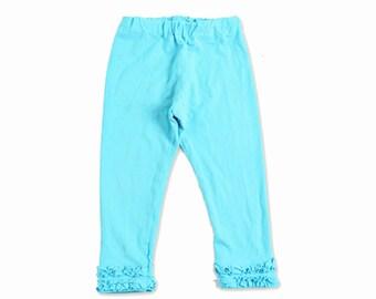 Turquoise Leggings Baby - Baby Girl Leggings- Girls Ruffle Leggings- Baby Ruffle Leggings- Girl Toddler Leggings- Girls Ruffle Pants Outfits