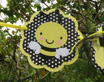 "Bumble Bee - ""Happy Birthday"" Banner - Honeycomb - Black and White Polka Dot and Yellow"