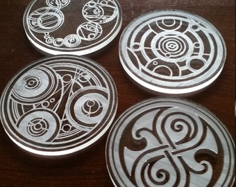 AS IS SALE>> Gallifreyan Seals - 4 Dr. Who Time Lord Coasters - Etched from Acrylic