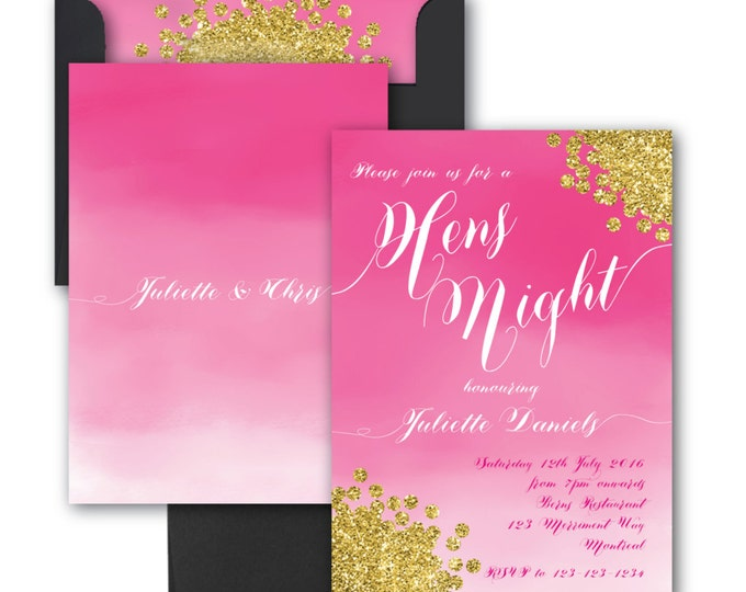 Hens Night Invitation // Hens Party // Bachelorette // Watercolor// Pink //Gold Glitter // Fuschi//Hot Pink //Ombre// MONTREAL COLLECTION