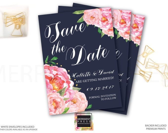Save the Date Card // Pink Floral Save the date // Peonies // Peony // Flowers // Navy Blue // Pink // Gold Glitter // BORDEAUX COLLECTION