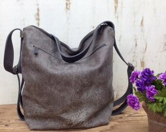 Sale!! Taupe leather crossbody boho backpack leather Hobo pack rucksack - Size details below in text
