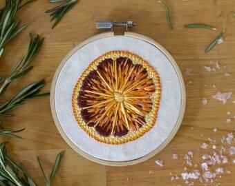 Embroidery Hoop Art- blood orange 4 inch hoop