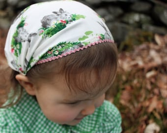 Bunny Headscarf with Pink Ric Rac Trim-baby/toddler size