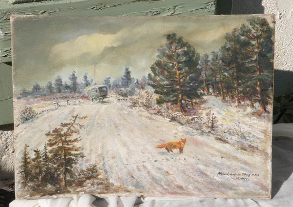 Vintage fox painting, oil painting, 1940s painting, original art, German art, original painting, fox painting, snowy landscape, vintage art,