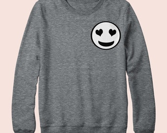 Emoji Heart Face Smiley Face - Sweatshirt, Crew Neck, Graphic