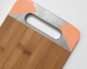 Clearance! Geometric Bamboo Cutting Board Silver, Peach Serving Board, Custom Chopping Board, Bread Board
